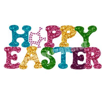 Happy Easter Glitter and Rhinestone Hotfix Motif Transfers