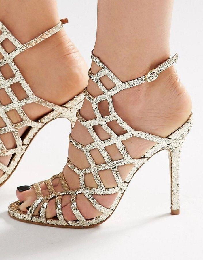 da458fbbb7d  92     Steve Madden Slithur Gold Glitter Caged Heeled Sandals - US ...