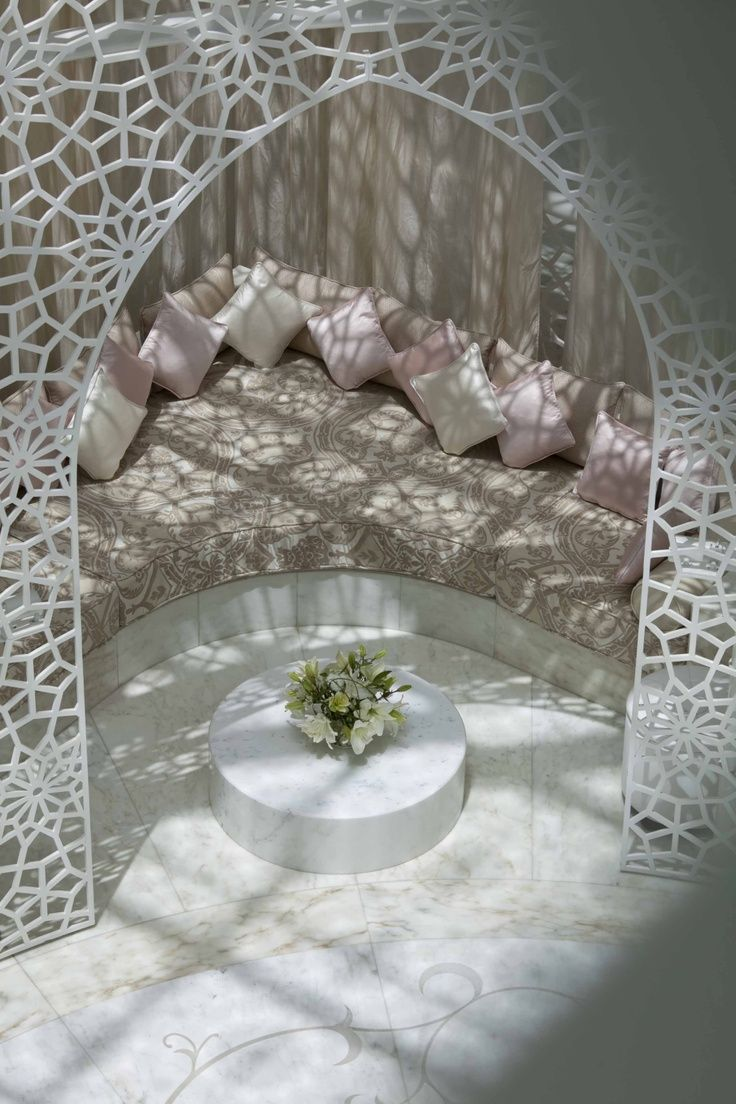 Royal Mansour Spa nook. The wrought iron patterns casts lovely shadows! #Luxury #Moroccan #Spa.