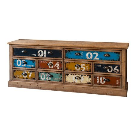 Display your flatscreen TV or stow books and DVDs with this handsome wood chest, showcasing 10 multicoloured drawers and cup-style pulls.