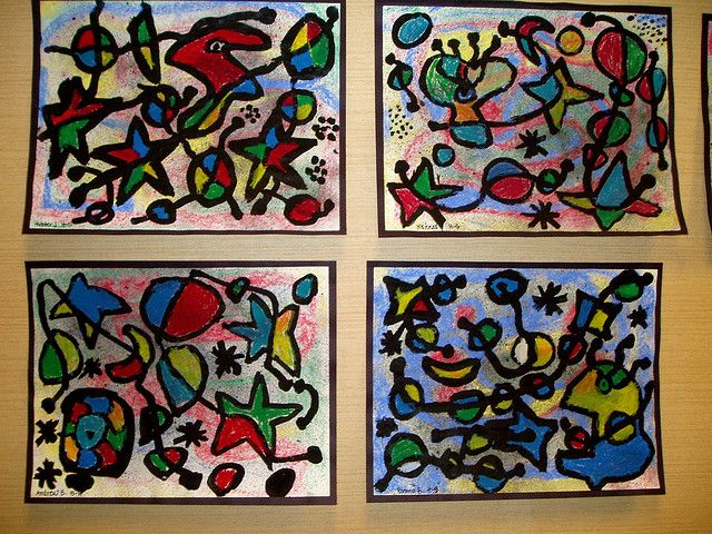 """Paint a variety of Miro-esque shapes(outlines)  in a variety of sizes in black.  Add 2 – 3 lines that trail through the composition to break up the shapes – again in black.   Vary line width to add interest.   Paint the inside of the shapes using primary and secondary colors. Change colors across the """"break"""" in a shape. Repeat colors at least three times to create balance.   Fun idea: Spritz the piece lightly with liquid watercolor paint to add depth to the background."""
