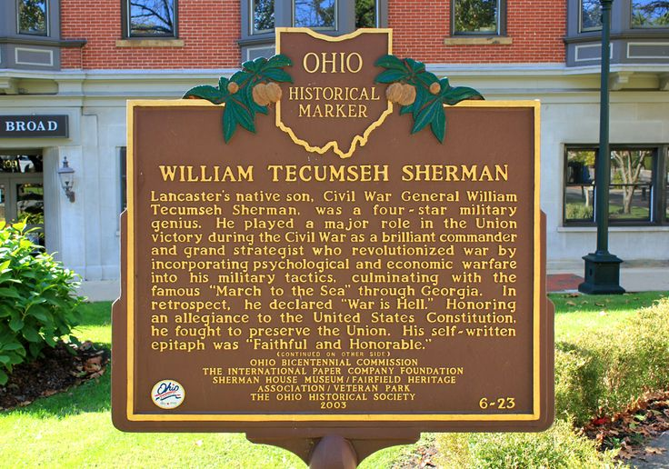War Is Hell General Sherman | Civic Arts Project | William Tecumseh Sherman Statue; Lancaster, Ohio ...