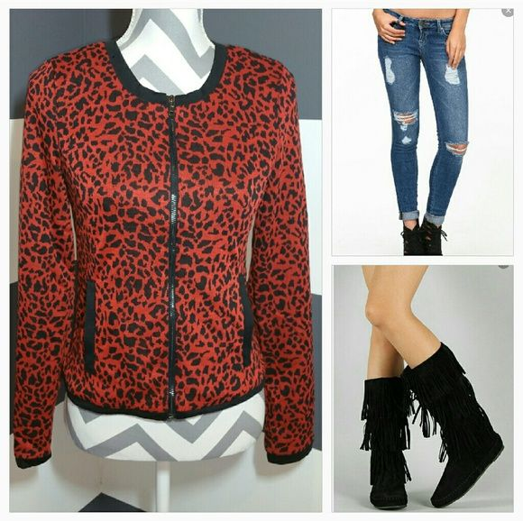 "Animal print jacket NWOT Brand new, no tags  Fun yet classy animal print jacket. Pairs with jeans a black boots perfectly!! Reddish Burnt orange and black print.  Zip up front Pockets  100% polyester  Approx 21.5"" long Bust seam to seam when closed 16.5"" Jackets & Coats"