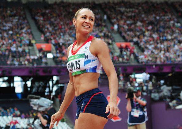 Jessica Ennis of Great Britain smiles during the Women's Heptathlon Javelin Throw on Day 8 of the London 2012 Olympic Games at Olympic Stadium on August 4, 2012 in London, England.
