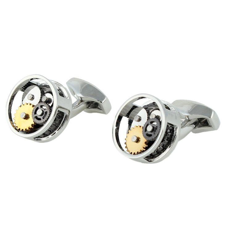 BELLA Fashion Wedding Cuff Links Genuine Stainless Steel Wheel Gear Cuff Links For Bridegroom For Men Silver/Gold/Black Tone