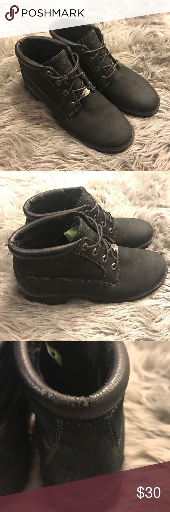 Timberland Classic Black Low Tops Timberland Classic Black Low Tops, cracking long the leather at the ankle, besides that good condition. Timberland Shoes Ankle Boots & Booties