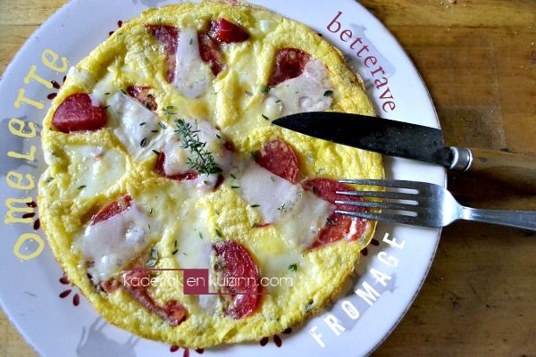 Recette omelette - Omelette fromage et betterave - Kaderick en Kuizinn
