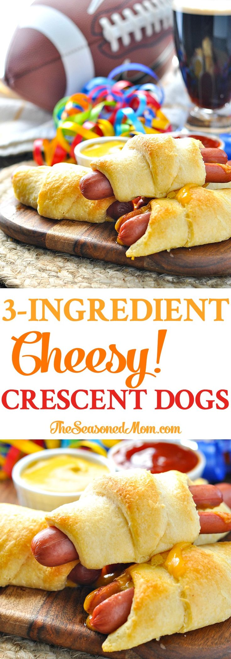 Long vertical image of hotdogs wrapped in crescent rolls.