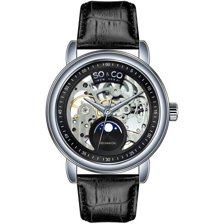 So&co New York Men's Strap Mechanical Skeleton Moon Phase Watch