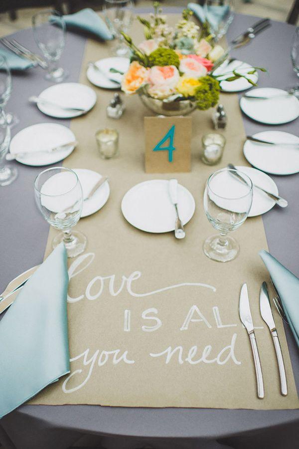 messages of love on all the reception tables, photo by Jason Hales Photography http://ruffledblog.com/fernbank-museum-wedding #weddingideas #reception #weddingreception