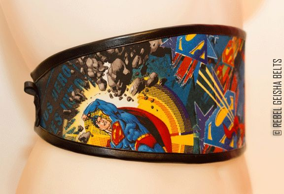 Waist-Cincher Style Belts for bold women who love to stand out in a crowd! Designed and Made in Toronto PERSONAL SERVICE/CUSTOM ORDERS ONLY  COLLECTION: COMICORS superman blast $60