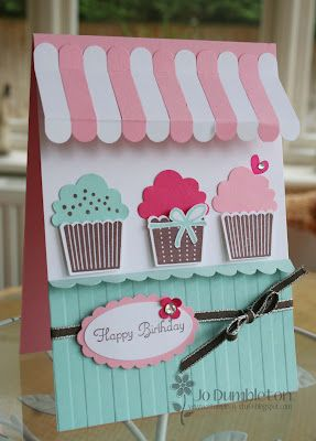 Cupcake and awning card by Jo using Stampin' Up supplies