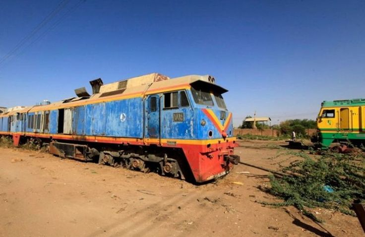 An out-of-service train stands at the Sudan Railway maintenance complex in Khartoum. With peeling paint and no wheels, it now a relic of a former era. In its heyday, Sudan's rail network used to cover over 5,000 km (3,100 miles) but it began to decline in the 1980s partly as the result of political disputes. As the network began to crumble, more than 20,000 workers lost their jobs within a decade.