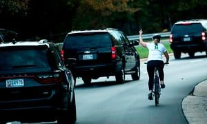 Hail to the chief: cyclist gives Donald Trump the middle finger   US news   The Guardian