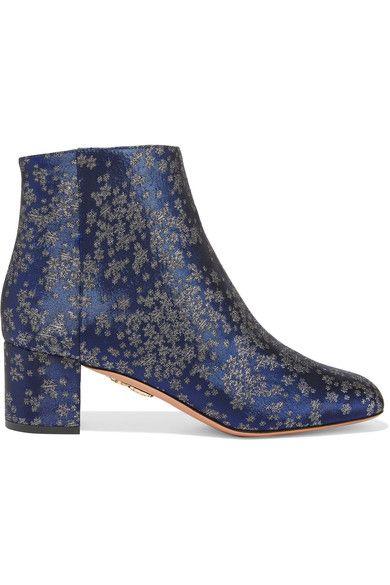 Aquazzura - Brooklyn Jacquard Ankle Boots - Navy - IT36.5