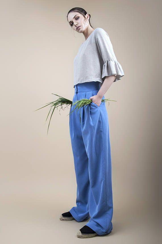 Blue pants high waisted pants women's pants loose fit