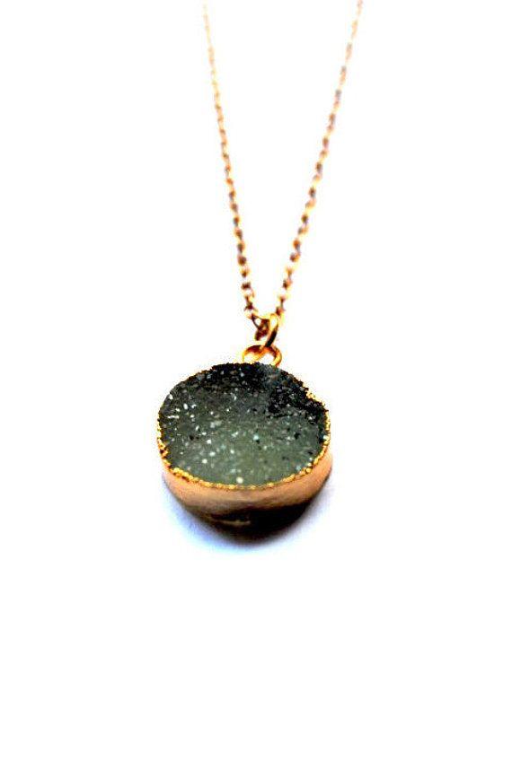 Druzy Necklace Round Druzy Necklace 14kt Gold by AshaJewellery
