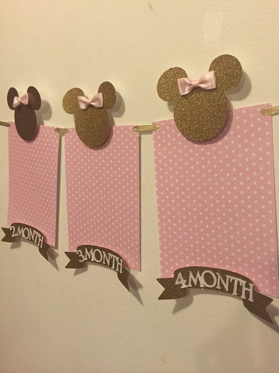 Pink and gold minnie mouse photo banner by Fancymycupcake on Etsy
