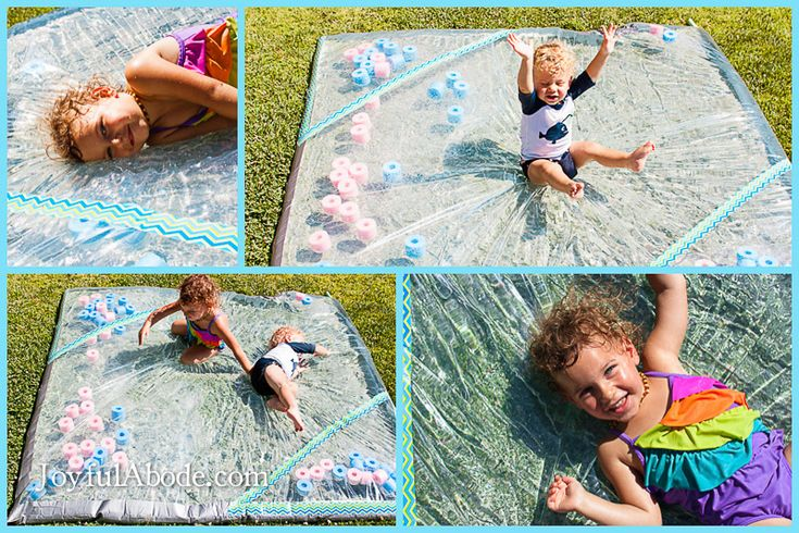 How to beat the heat with a DIY cool water pad - how to make a splash pad for a hot summer kids' activity.