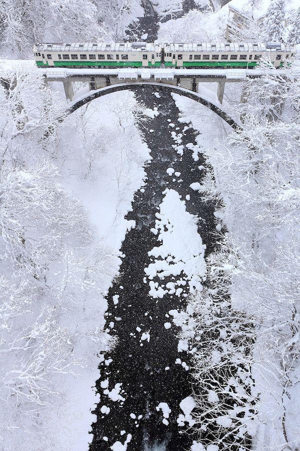 Winter Railway Tadami-Line in Mishima town, Fukushima, Japan