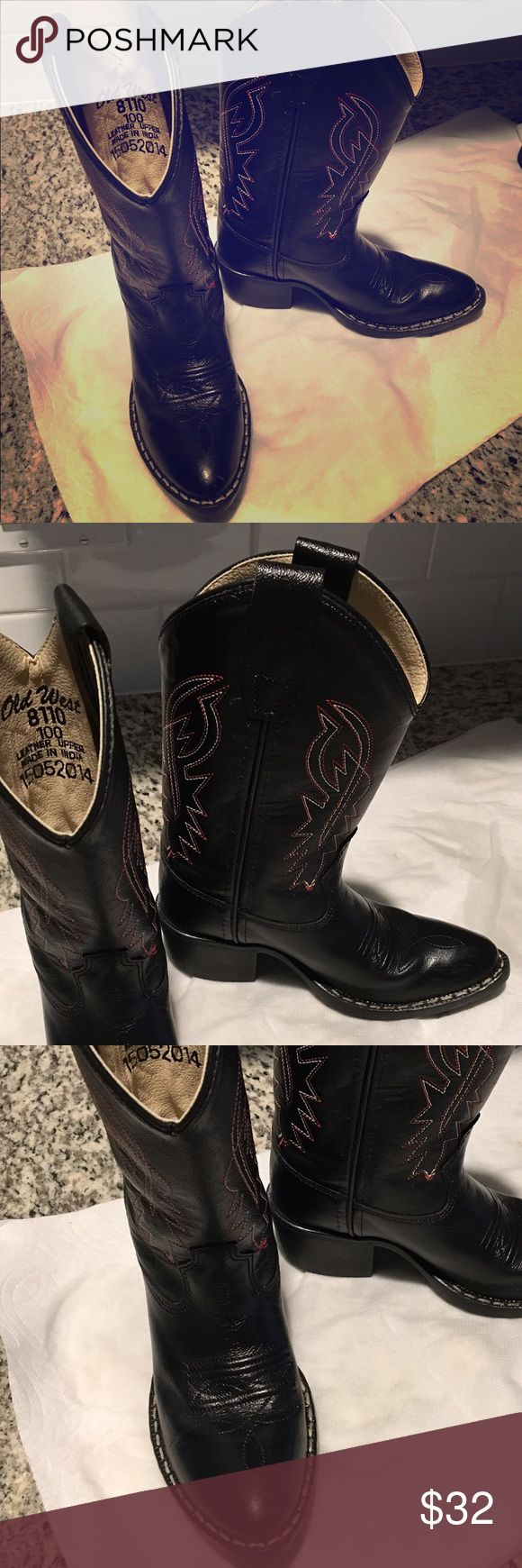 Old West Boots 🤠 Old West Kids Western Boots. Black with red and white stitching. Worn twice. Toddler size 10 Shoes Boots