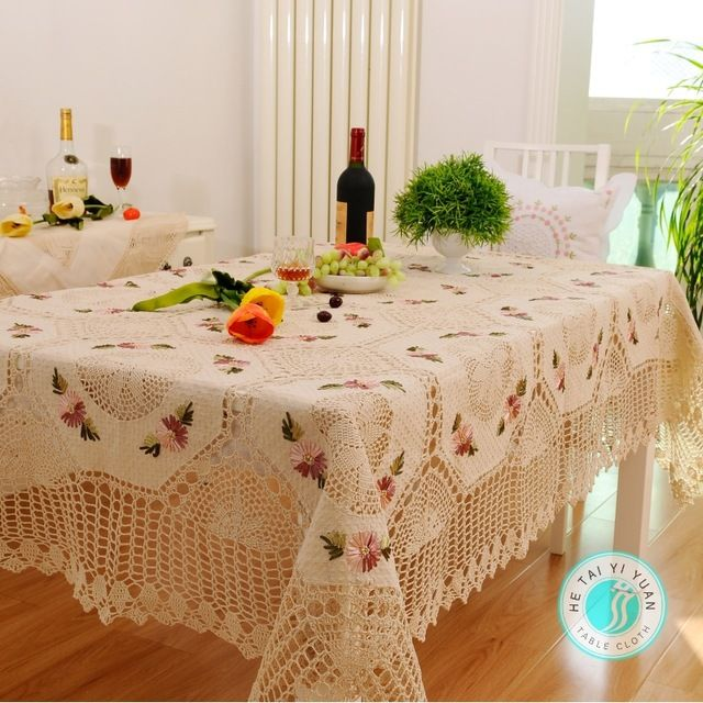 Hetaiyiyuanコンチネンタル牧歌リボン刺繍入りテーブルクロス手作りかぎ針編みのテーブルクロスダイニングテーブルクロステーブルカバー