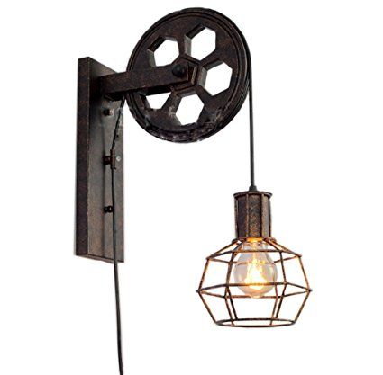 American industrial light fixture ancient ways wall lamp creative lifting pulley bracket light