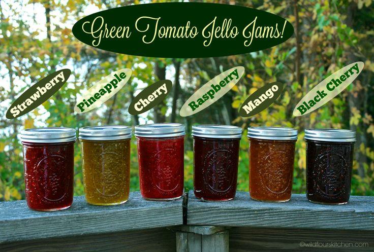 Green Tomato Jello Jams (Strawberry, Raspberry, Cherry, Pineapple, Black Cherry & Mango) - Wildflour's Cottage Kitchen