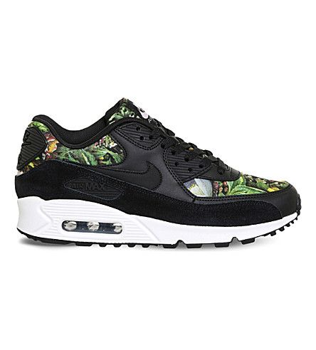 NIKE Air Max 90 leather floral-print sneakers. #nike #shoes #