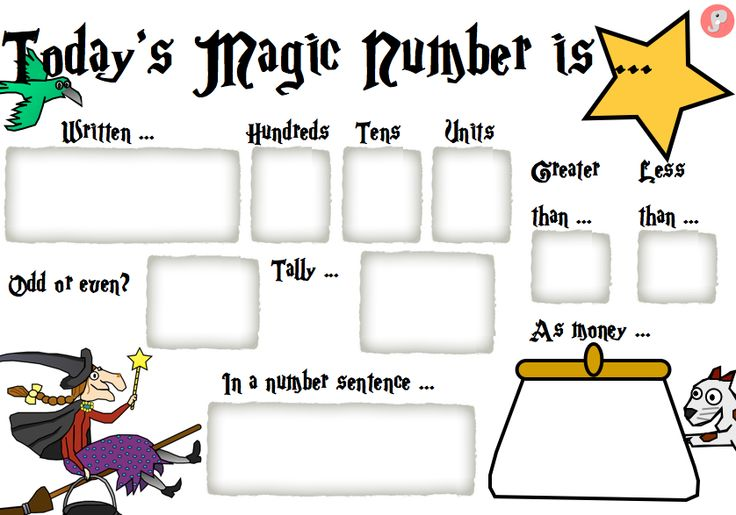 KS1 Today's Magic Number Mat - A great group or independent activity for KS1. Give children a magic number, then ask them to: write it in words, say whether it is odd or even, say a number that is greater than and less than, put into a place value table, write a number sentence, as a tally and express the number in coin values. Also available as an A3 version – making it also ideal as a whole class activity. For more free resources visit: www.justteachit.co.uk