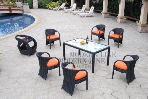 All Weather Collection Contemporary Dining Set with Six Pumpkin Cushion Top Dining Chairs and Beverage Cart by Modern Line Furniture. $1195.95
