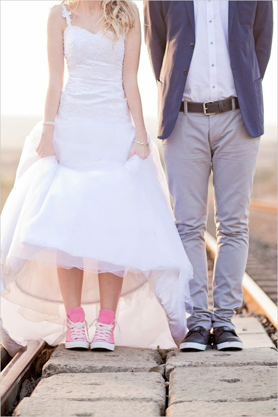 Hip bride and groom style Take note of the bride in pink converse.