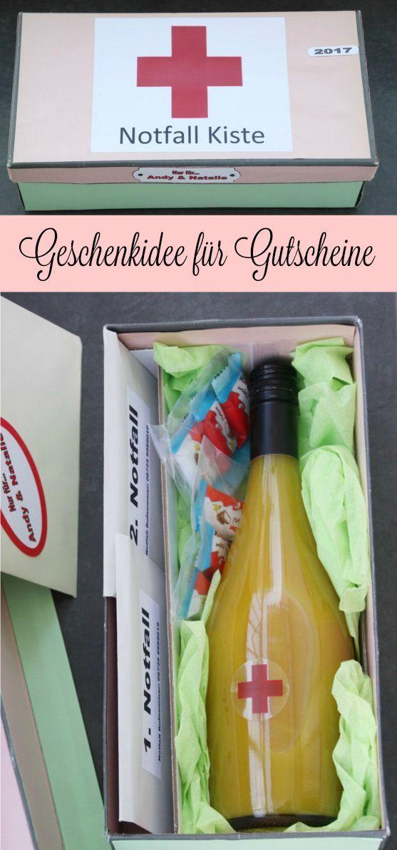 Kreative Geschenkidee für Geburtstag. Gutschein originell verpacken   Notfallkiste