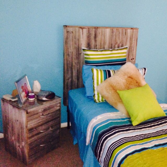 Made headboard and side table