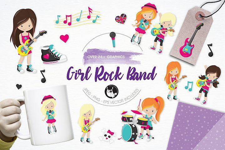 Girl Rock Band  graphics and illustrations