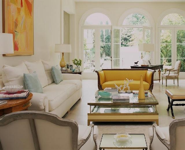 .: Lights, Window, Living Rooms Design, French Doors, Colors Schemes, Jan Shower, Gardens Doors, Yellow Couch, Families Rooms