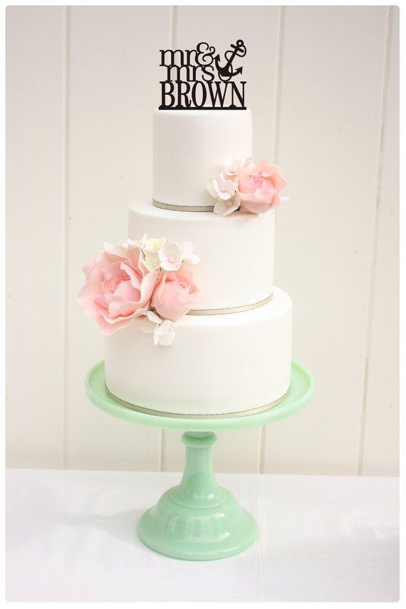 Personnalisé nautique Wedding Cake Topper M. par ThePinkOwlDesigns, $30.00