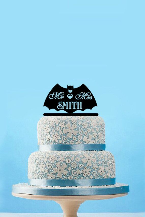 Mr & Mrs Last Name Batman Cake Topper-Personalized by designsgift