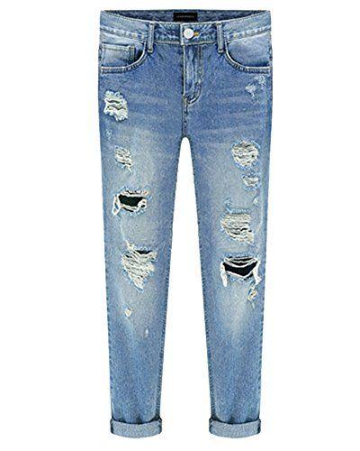 5687271a2933c Kasen Femmes Vintage Pantalon Déchirés Jeans Denim Slim Délavé Pants Bleu 30