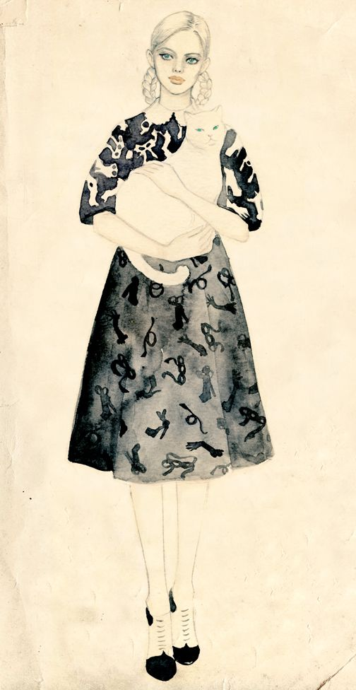 Teri Chung || fashion illustration: Cat Art, Illustrations Art, Art Illustrations, Chung Illustrations, Illustrations Inspiration, Beautiful Green Eye, Cat Girls, Teri Chung, Fashion Illustrations