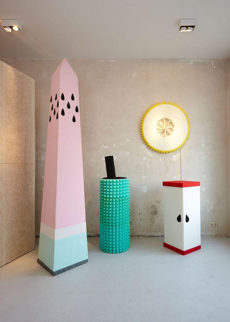 seek no further / fruit of the loom - sarah illenberger - installation of geometric foam fruit scultpures for new pop-up shop in Berlin  - photography ragnar schmuck