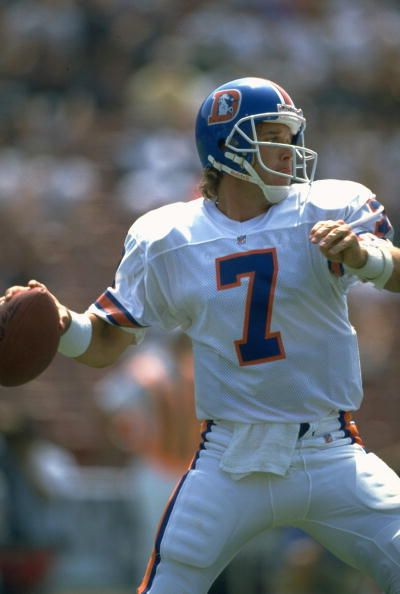 Football Denver Broncos QB John Elway in action making pass vs Los Angeles Raiders Los Angeles CA 9/8/1991