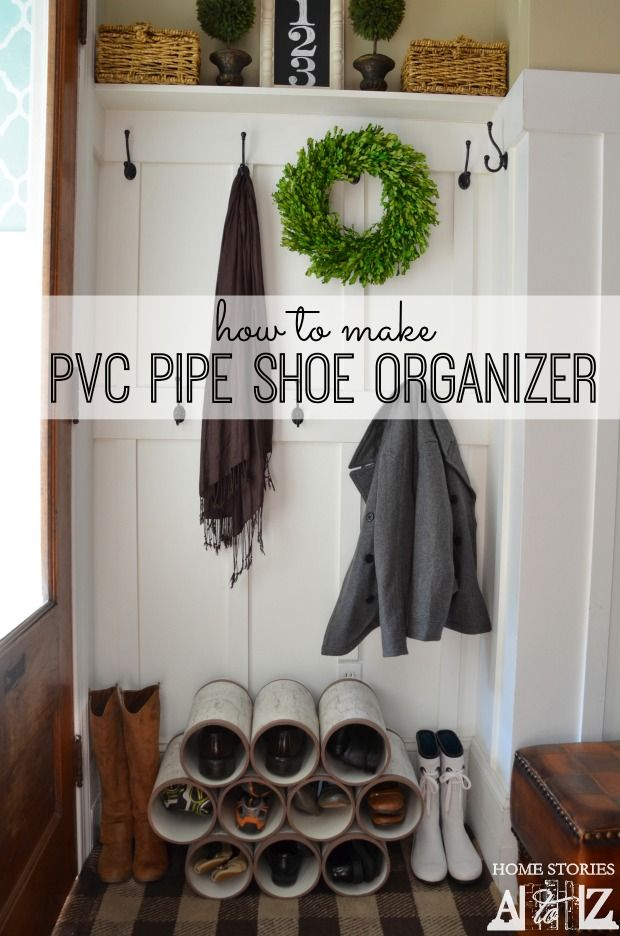 How to make PVC pipe shoe organizer to look like cute stack of birch bark logs.