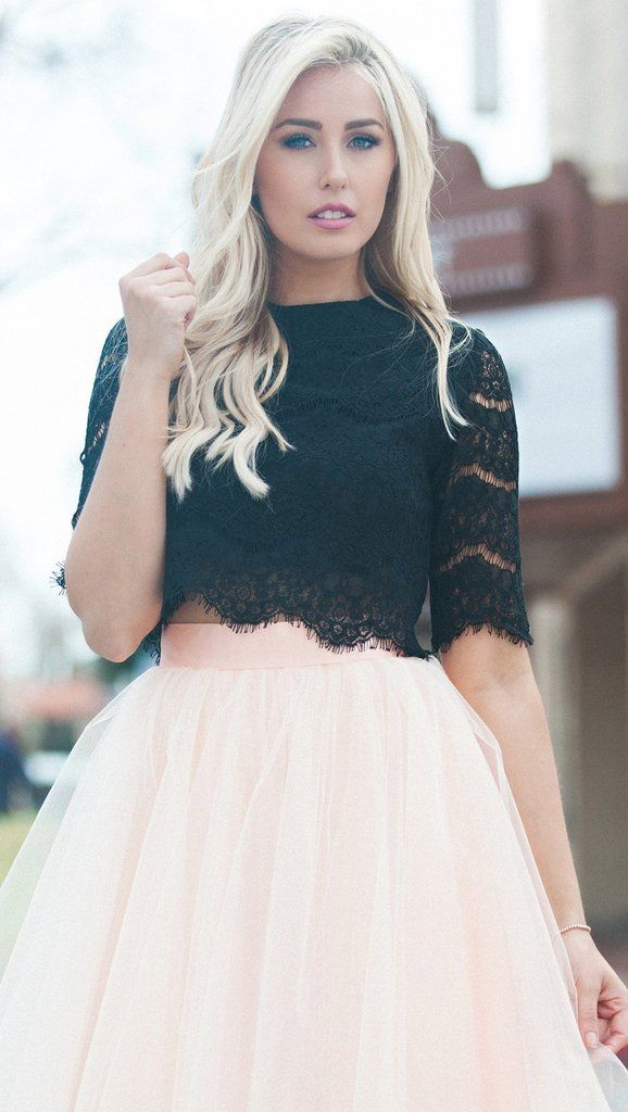 "Our Signature ""Sincerely Yours"" Black lace crop top is a promising pick for any engagement outfit! We adore the romantic floral..."