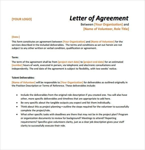 Letter Of Agreement Template Contract Template Letter Writing Template Lettering
