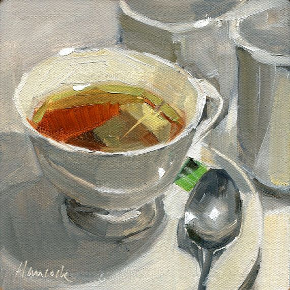6 x 6 original oil painting of a cup of tea. Still life is of 3 cups, saucer, sp…
