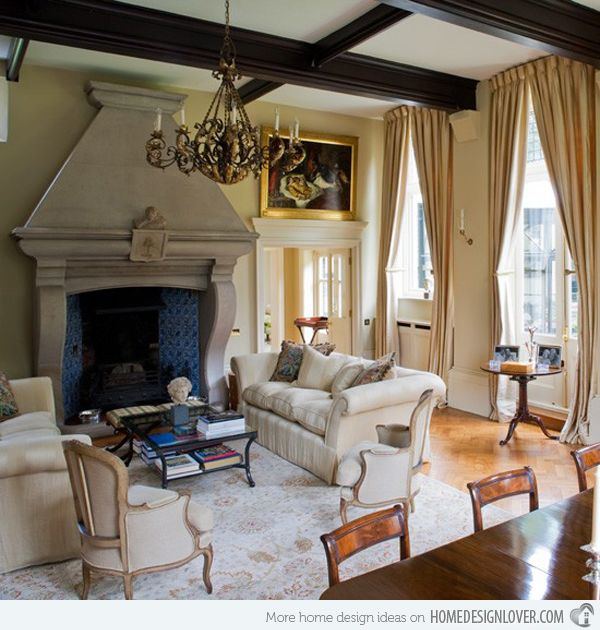 Beautiful beams and a wonderfully large-scale mantel.