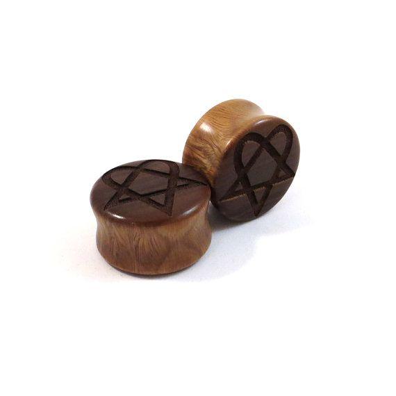 Heartagram Lignum Vitae Wooden Plugs PAIR 2g 6.5mm by EarEmporium