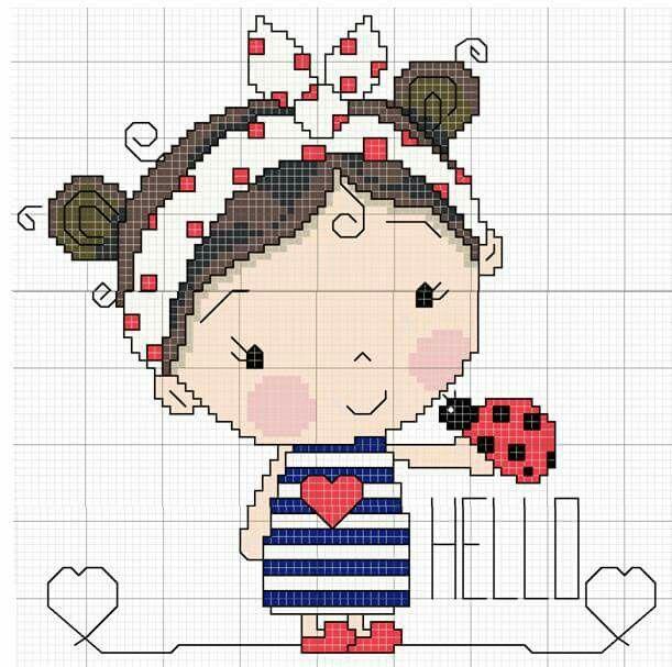 Petite fille coccinelle marinière et noeud cheveux. Grille point de croix