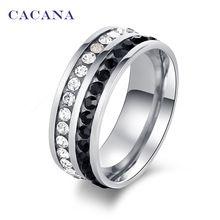 CACANA acier inoxydable anneaux pour les femmes double rangée couleur CZ diamant…